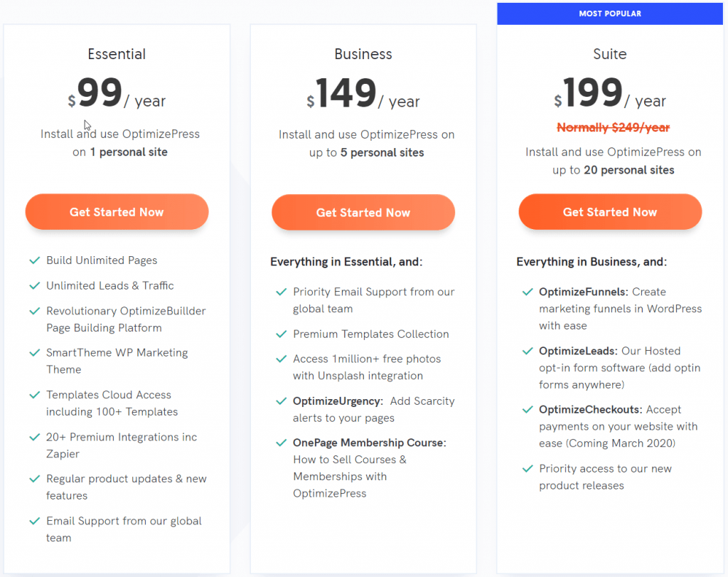 OptimizePress Review - Pricing Plans